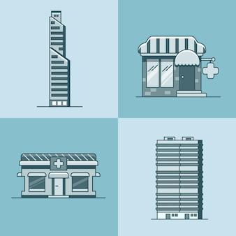 Stadtstadt wolkenkratzerhaus krankenhausapotheke drogerie architektur gebäude set