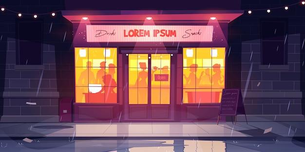 Stadtstraße mit bar in der regnerischen nacht. karikaturillustration des caféaußens mit leuten innerhalb. restaurant- oder caféfassade bei schlechtem wetter mit regen draußen