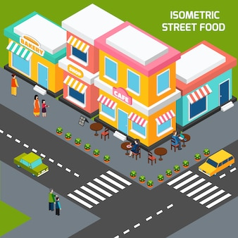Stadtstraßen-lebensmittel-café-isometrisches plakat