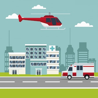 Stadtszene bau von krankenhäusern mit krankenwagen und helikopter