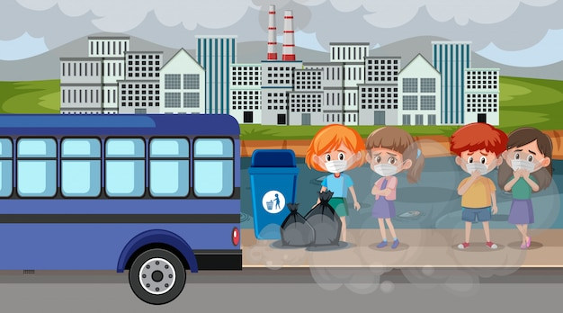 Stadtszene mit luftverschmutzung und vielen kindern, die masken tragen