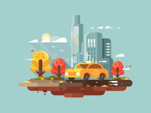Stadttaxi-design flach. yellow cab-fahrt in der stadt. vektor-illustration