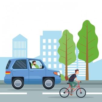 Stadttransport und mobilitätscartoons