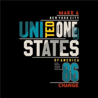 Stadttypografieillustration der vereinigten staaten von amerika für t-shirt