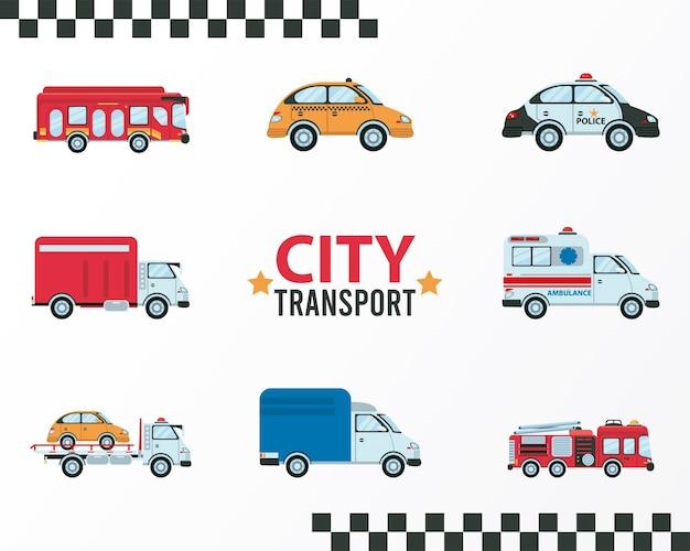 Stadtverkehr schriftzug und bündel von acht fahrzeugen