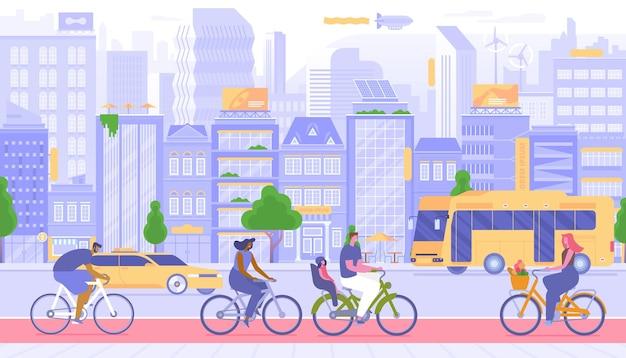 Stadtverkehr, städtereisen-vektor-illustration. glückliche menschen auf fahrrädern im freien zeichentrickfiguren. private und öffentliche fahrzeuge. taxi und bus auf der straße, bürger mit dem fahrrad auf dem bürgersteig