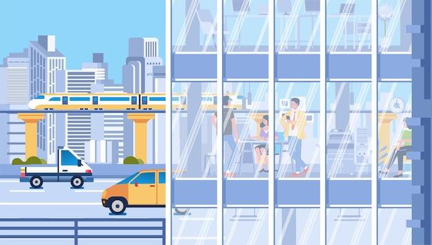 Stadtverkehr und aktivitäten der menschen im gebäude mit glasfenstern, stadtbild und gebäuden als hintergrund