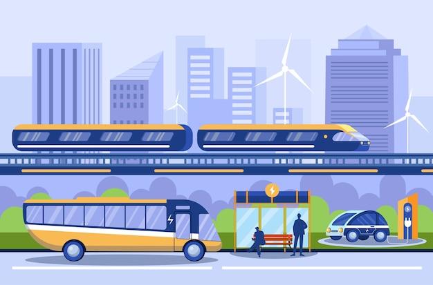 Stadtverkehr. unterschiedliche öffentliche verkehrsmittel. u-bahn, u-bahn. busbahnhof, ladestation. elektroauto, elektroauto. öko-fahrzeuge. stadtökologie