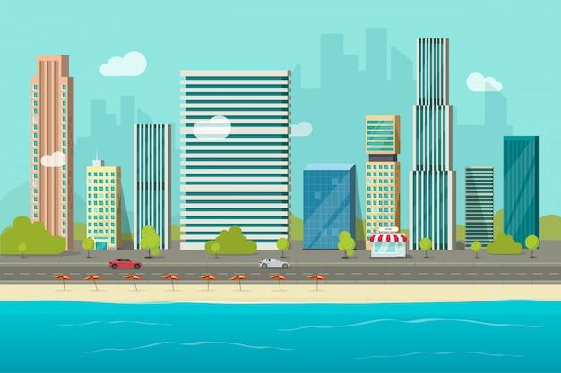 Stadtwolkenkratzergebäude von der seestrandansicht oder von der flachen karikatur der städtischen stadtbildvektor-illustration