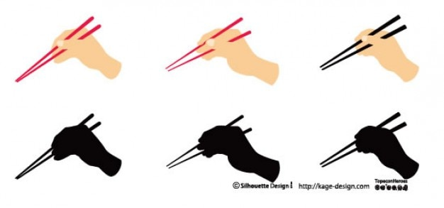 Stäbchen und hände