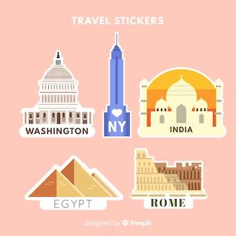 Städte-aufkleber-sammlung
