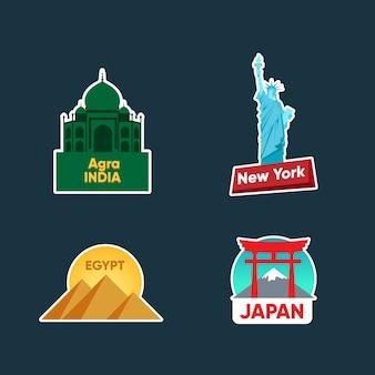 Städte reisen aufkleber sammlung