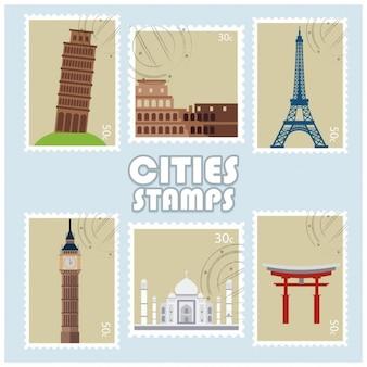 Städte stempel mit berühmten welt sehenswürdigkeiten