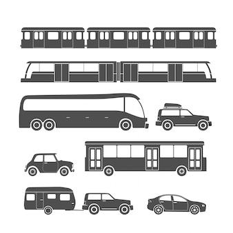 Städtische fahrzeugsammlung lokalisiert auf weißem hintergrund