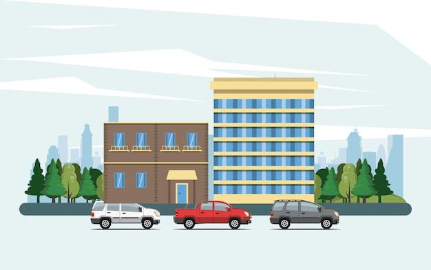 Städtische gebäude mit stadtbildlandschaft