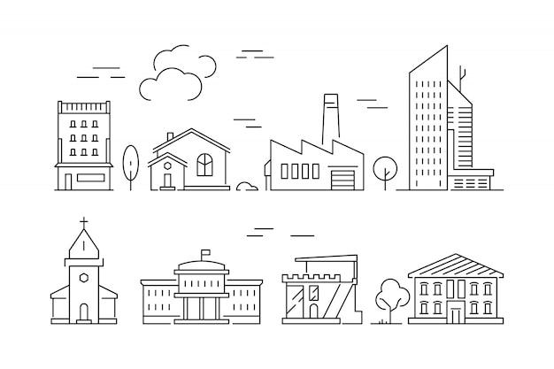 Städtische gebäude-symbol. bringt die linearen symbole des wohnzimmerlandhausäußeren vorstadtvektors lokalisiert unter