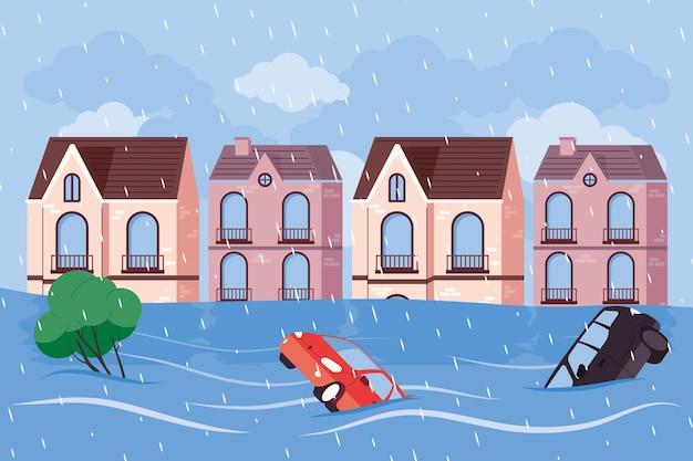 Städtische hochwasserszene