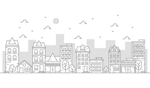 Städtische illustration im schönen dünnen linienstil