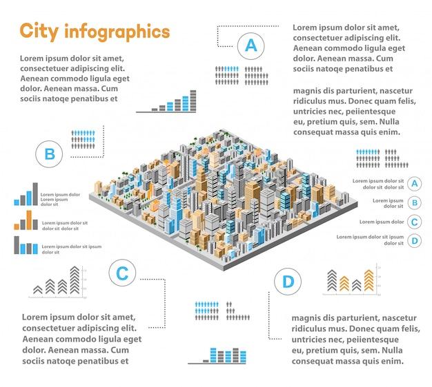 Städtische infografiken mit isometrischer stadt