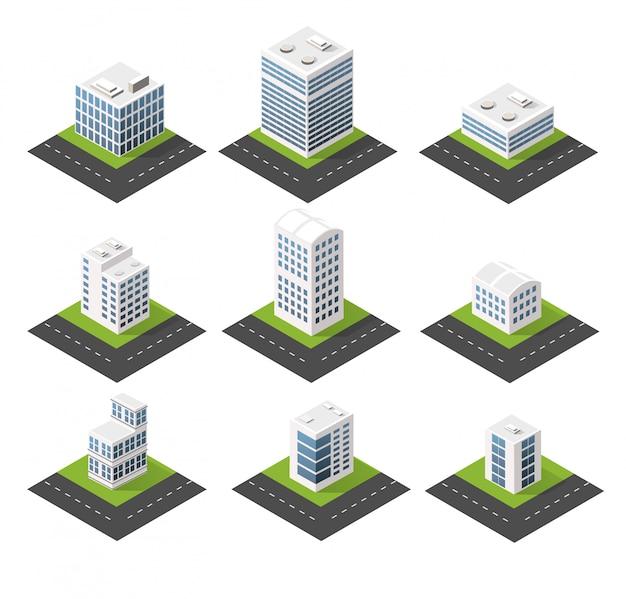 Städtische isometrische symbole für das web mit häusern und straßen