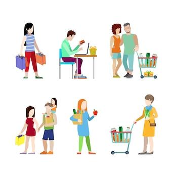 Städtische junge leute einkaufswagen lebensmittelpaar familie web infografik konzept icon set.