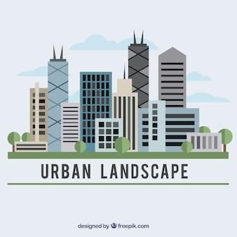 Städtische landschaft in flachen design-hintergrund