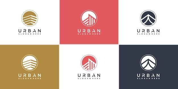 Städtische logosammlung mit modernem abstraktem stil premium-vektor
