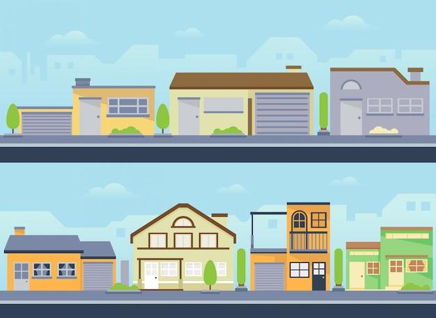 Städtische moderne hausvektorlandschaft