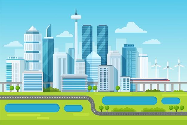 Städtische moderne stadtbildlandschaft mit hohen wolkenkratzern und u-bahn-illustration