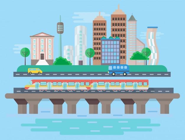 Städtische moderne stadtkonzeptlandschaft