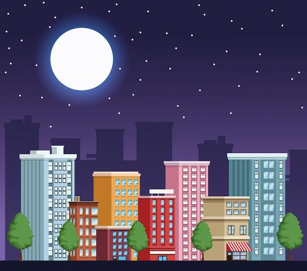 Städtische nachtszene des gebäudestadtbilds