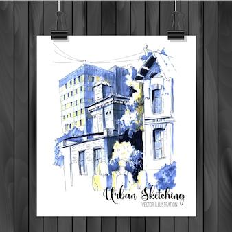 Städtische skizzeillustration
