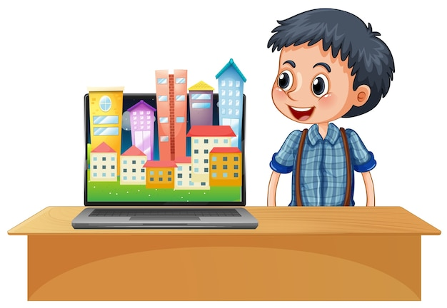 Städtische stadt auf computerbildschirm desktop