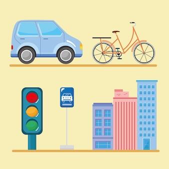 Städtische stadt fünf ikonen