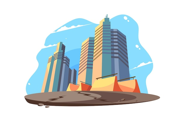 Städtische stadtbildansicht-vektorillustration