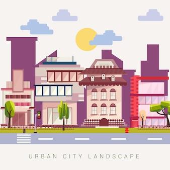 Städtische stadtgebäude-landschaftsvektorillustration