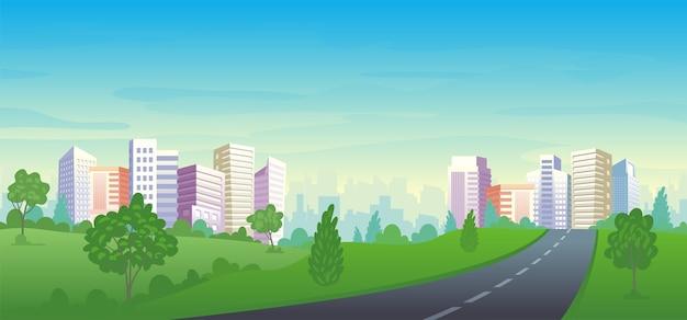 Städtische straße mit panorama city park landschaft, häusern und bürogebäuden.