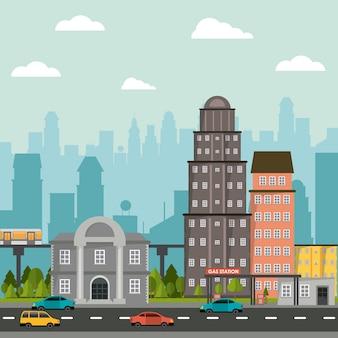 Städtische straßenautos der stadtbildgebäude-tankstelle-bank