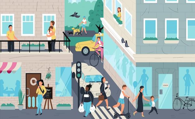 Städtische straßenszene, in der stadt lebende menschen, illustration