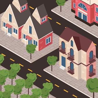 Städtische szene in der nachbarschaft