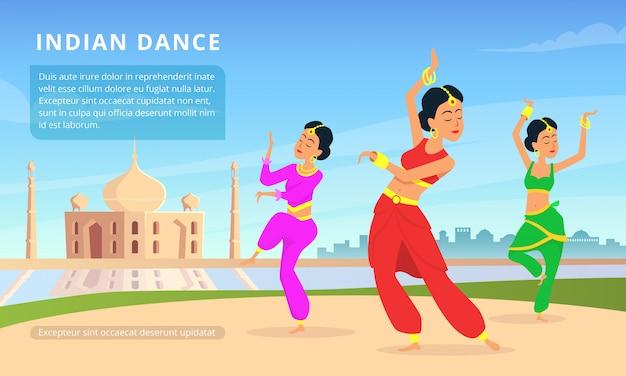 Städtische traditionelle indische landschaft mit schönen tänzern