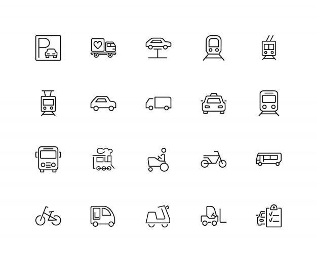 Städtische transportikonen. satz von zwanzig linie ikonen. straßenbahn, fahrrad, parkplatz.