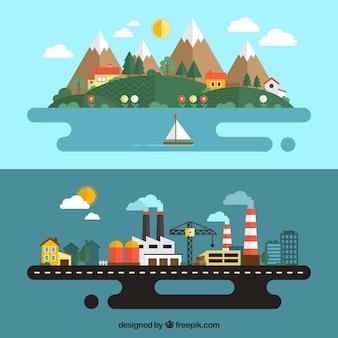 Städtische und ländliche landschaft