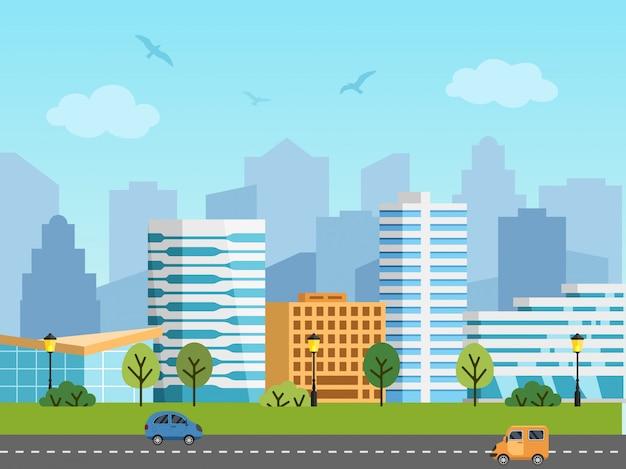 Städtische vektorlandschaft, -gebäude und -wolkenkratzer der stadt