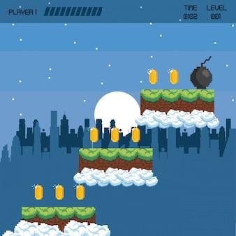 Städtische videospiellandschaft mit pixel