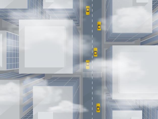 Städtische wolkenkratzer durch den smog