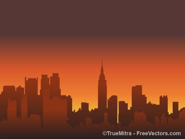 Städtischen skyline orange und braun vektoren