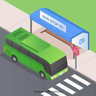 Städtischer bus und bushaltestelle mit isometrischer ansicht