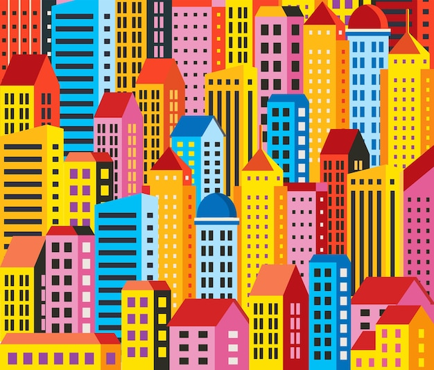 Städtischer hintergrund von gebäuden, häusern, wolkenkratzern. für dekoration und kreativität im urbanen und industriellen design.