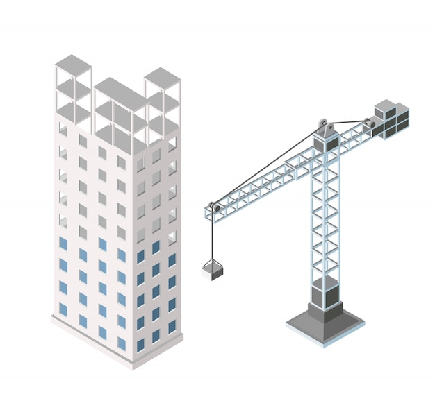 Städtischer industrieller isometrischer architektonischer flacher plan